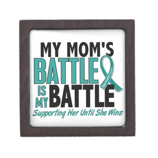 My Battle Too Mom Ovarian Cancer Premium Jewelry Box