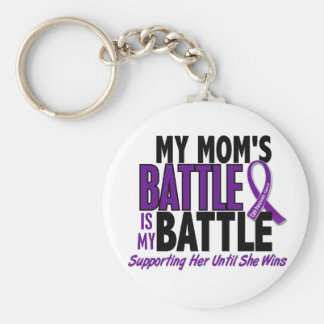 My Battle Too Mom Pancreatic Cancer Basic Round Button Keychain
