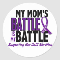 My Battle Too Mom Pancreatic Cancer Classic Round Sticker