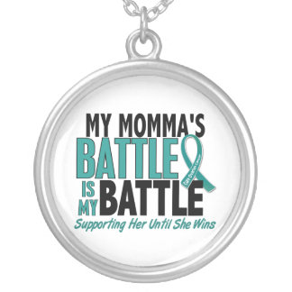My Battle Too Momma Ovarian Cancer Round Pendant Necklace