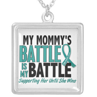 My Battle Too Mommy Ovarian Cancer Square Pendant Necklace