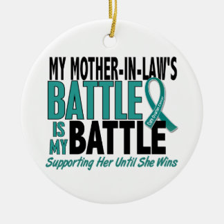 My Battle Too Mother-In-Law Ovarian Cancer Christmas Ornament
