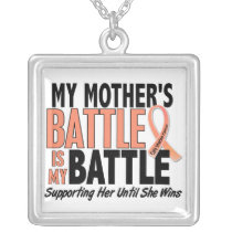 My Battle Too Mother Uterine Cancer Silver Plated Necklace