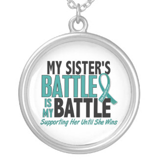 My Battle Too Sister Ovarian Cancer Round Pendant Necklace