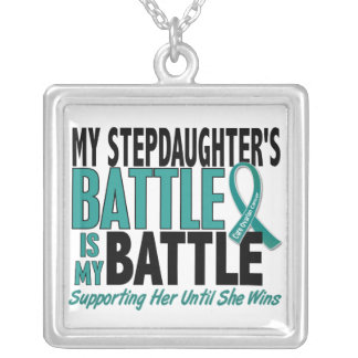 My Battle Too Stepdaughter Ovarian Cancer Square Pendant Necklace