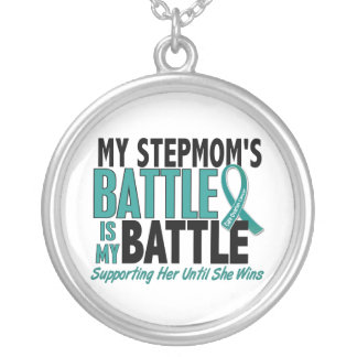 My Battle Too Stepmom Ovarian Cancer Round Pendant Necklace