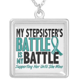 My Battle Too Stepsister Ovarian Cancer Square Pendant Necklace