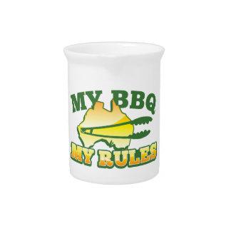 MY BBQ MY RULES aussie design Drink Pitcher