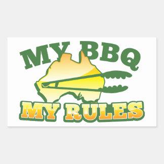 MY BBQ MY RULES aussie design Rectangular Sticker