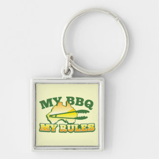 MY BBQ MY RULES aussie design Silver-Colored Square Keychain