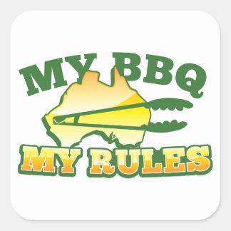 MY BBQ MY RULES aussie design Square Sticker