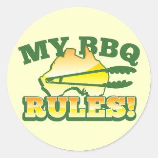 My BBQ RULES! barbecue Australian design Classic Round Sticker