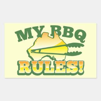 My BBQ RULES! barbecue Australian design Rectangular Sticker