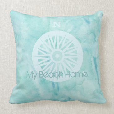 Beach Themed My Beach Home Watercolor Pillow