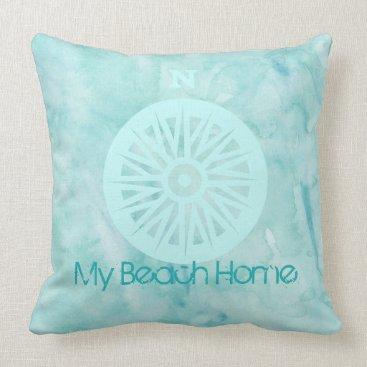 Beach Themed My Beach Home Watercolor Pillow