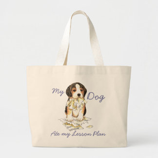 My Beagle Ate My Lesson Plan Large Tote Bag