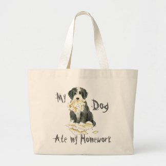 My Bearded Collie Ate My Homework Large Tote Bag
