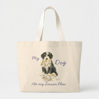 My Bearded Colllie Ate My Lesson Plan Large Tote Bag