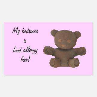 My bedroom is food allergy free rectangular sticker