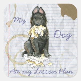 My Belgian Sheepdog Ate My Lesson Plan Square Sticker
