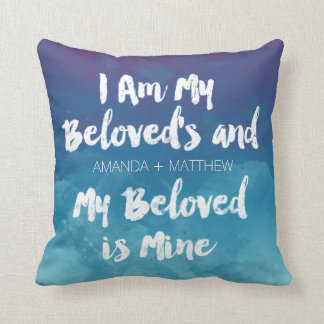 My Beloved Is Mine Blue Watercolor Personalized Throw Pillow