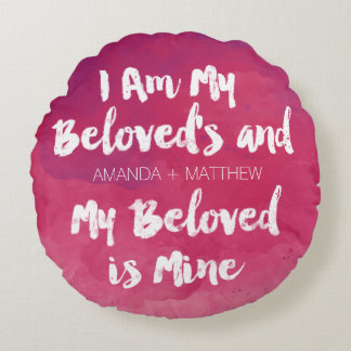 My Beloved Is Mine Pink Personalized Watercolor Round Pillow