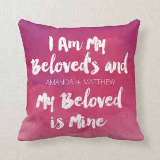 My Beloved Is Mine Pink Personalized Watercolor Throw Pillow