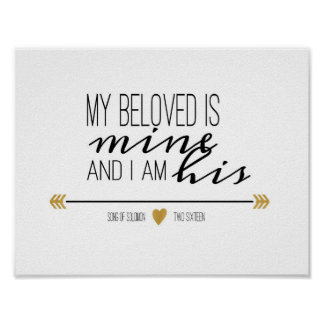 My Beloved is Mine, Scripture Poster