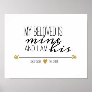 My Beloved is Mine, Scripture Poster