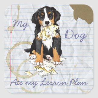 My Berner Ate My Lesson Plan Square Sticker