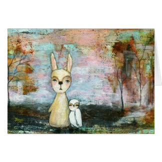 My Best Friend, Baby Rabbit, Baby Owl Abstract Art Greeting Card