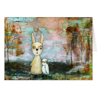 My Best Friend, Baby Rabbit, Baby Owl Abstract Art Card