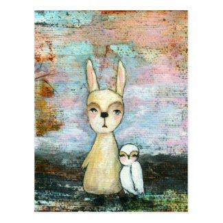 My Best Friend, Baby Rabbit, Baby Owl Abstract Art Postcard