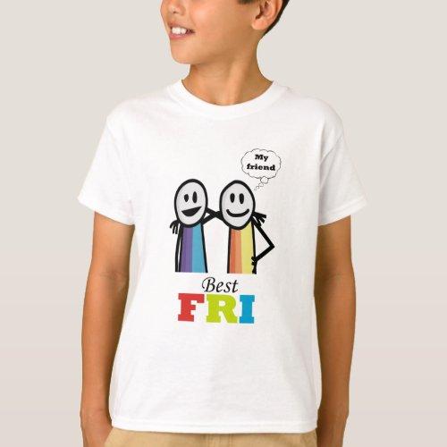 My best friend cool colourful T_Shirt