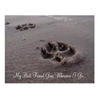 My Best Friend Footprints in Sand Postcard