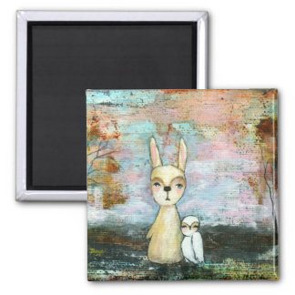 My Best Friend From Original Art Painting 2 Inch Square Magnet