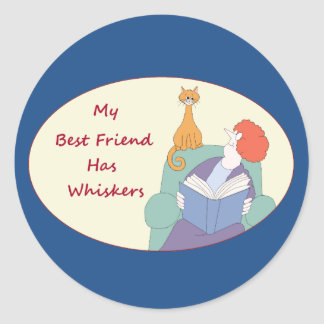 My Best Friend Has Whiskers Classic Round Sticker