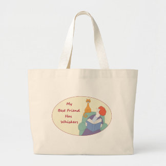 My Best Friend Has Whiskers Large Tote Bag