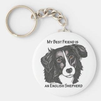 My best friend is a Black & White English Shepherd Basic Round Button Keychain