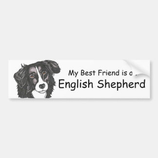 My best friend is a Black & White English Shepherd Bumper Sticker