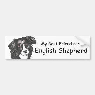 My best friend is a Black & White English Shepherd Car Bumper Sticker