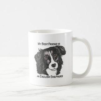 My best friend is a Black & White English Shepherd Classic White Coffee Mug