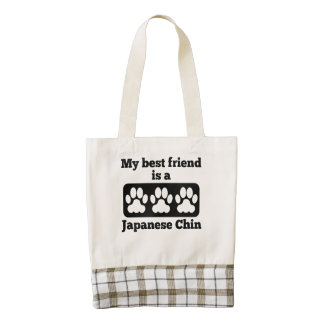 My Best Friend Is A Japanese Chin Zazzle HEART Tote Bag