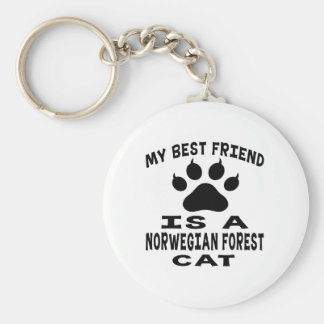 My Best Friend Is A Norwegian Forest Cat Keychains