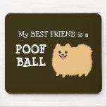 My Best Friend is a Pomeranian Poof Ball Cute Pom Mousepads