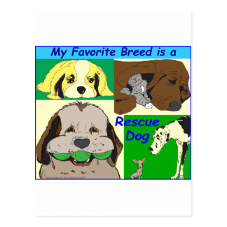 My best friend is a rescue dog postcard
