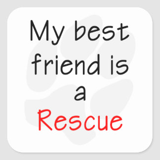 My Best Friend is a Rescue Dog Square Sticker