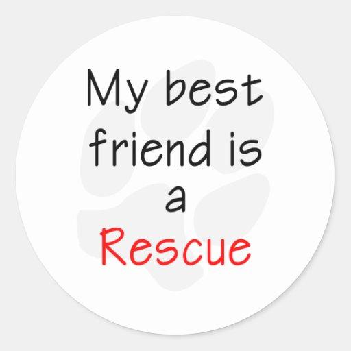 My Best Friend is a Rescue Dog Round Sticker
