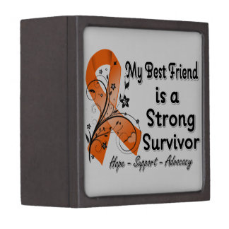 My Best Friend is a Strong Survivor Orange Ribbon Premium Keepsake Boxes