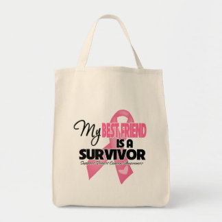 My Best Friend is a Survivor - Breast Cancer Tote Bags